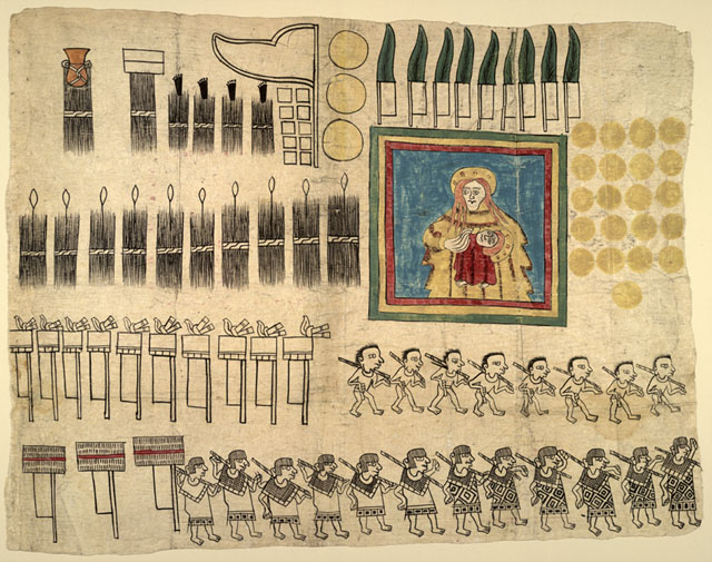 Fragment du codex Huzxotzinco, imprimé sur papier amate