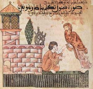 Histoire de Bayâd et Riyâd (« Hadîth Bayâd wa Riyâd »), manuscrit maghrebin, Scène : Le Shanûl apporte une lettre de Riyâd à Bayâd – XIIIème siècle
