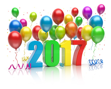 Happy New Year 2017 colorful balloons